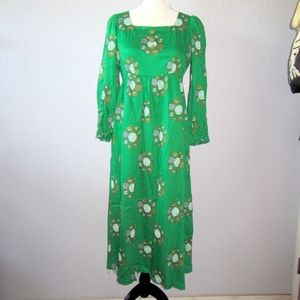 Vintage Emerald Handprinted Empire Waist Dress